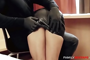Oiled Up Step-Daughter Gets Massaged By Daddy With reference to Latex Gloves