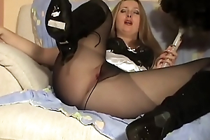 Slutty French maid farting up a storm in sexy pantyhose and boots