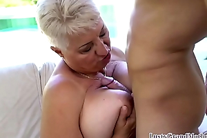 Busty gilf seduces young guy secure kinky sex