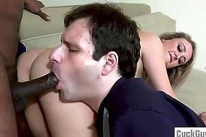 Elle McRae together with her sissy cuckold sharing a black cock