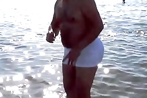 Daddy with BIG BUTT at the Beach