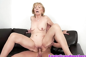 Cum loving granny enjoys sucking Hawkshaw