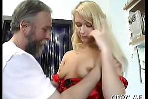 Large titted dilettante gets licked by old dude increased by rides him
