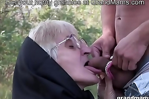 Not roundabout old granny blowjob with no teeth and hairy pussy