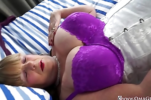 OmaGeiL Huge Granny Boobs Unassisted Showoff and Toys