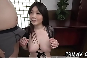 Cute japanese only gives superb oral by means of threesome