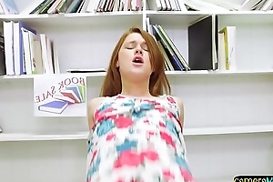 Redhead teen POV doggystyled in hammer away bookwork
