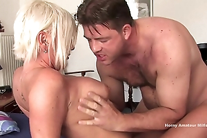 The milf on the high-heeled bed takes hard and big cock in all respects positions