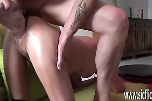 XXL double fist and dildo fucking both her holes