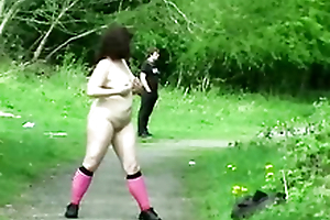 Slutty English girl flashes outdoors