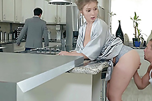 Lena Paul gets a load on her tits in the kitchen hardcore