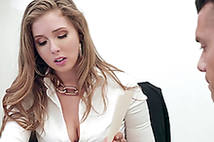 Buxom blonde secretary Lena Paul gets cum on effectively tits at the office