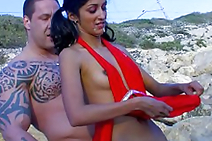 Indiana Fox , skinny indian babe fucking with Rob Diesel at the beach