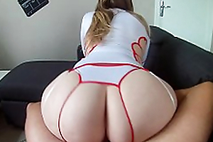 Tired mom in sexy nurse uniform finds powers to ride hard XXX syringe