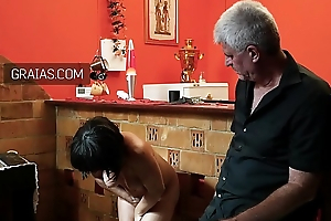 Pathetic mature slave controlled with firm hand
