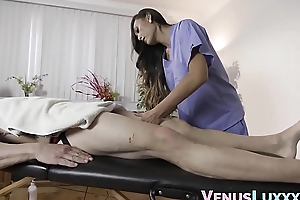 Asian masseuse sucks dick before cumming on studs face