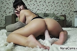 Big Ass Brunette Rides Dildo on Live Webcam - NanaCams.com