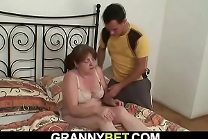 He brings busty old granny home to fuck